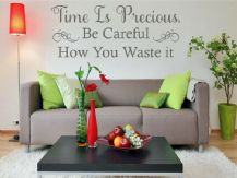 "Wall Quote ""Time is Precious. Be Careful..."" Home Sticker Decal Decor Transfer"